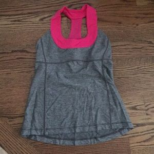 Lululemon grey and pink shirt with built in bra.